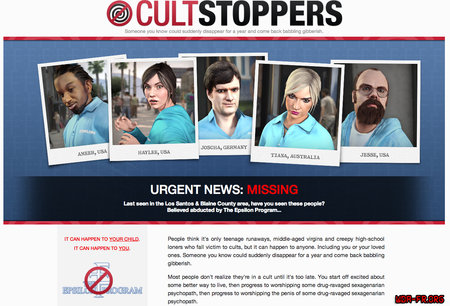 "Capture d'écran du site ""Cult Stoppers""."