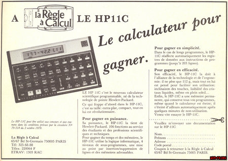 "HP-11C, disponible a ""la Règle à Calcul""..."