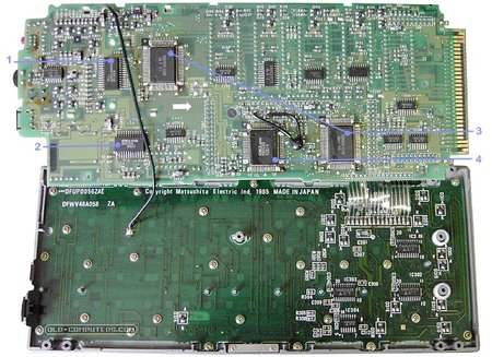 &quot;The electronics is comprised of two superimposed cards. The components side of the upper logic card faces the components side of the bottom keyboard card. <br />(1) 64 KB ROM chip, holds the system BIOS<br />(2) 8 KB RAM chip<br />(3) Custom I/O and memory management chips<br />(4) Oki 80C86 processor&quot;