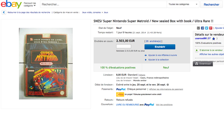"""Super Metroid"" (Pal) pour Super-Nintendo à 2503 Euros !"