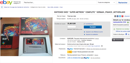 """Super Metroid"" (Pal) pour Super-Nintendo à 35,80 Euros."