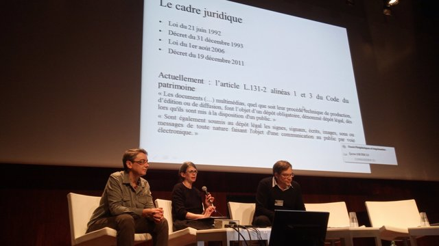Isabelle ASTIC (MAM), Elodie BERTRAND (BnF), Bertrand BROCARD (CNJV).<br />Le cas BnF.